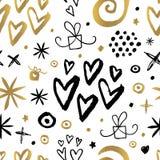 无缝的样式手拉金黄黑的Whitw 免版税库存图片