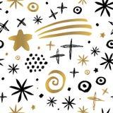 无缝的样式手拉金黄黑的Whitw 免版税库存照片