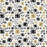 无缝的样式手拉金黄黑的Whitw 库存例证