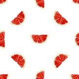 无缝的样式新成熟切片葡萄柚 免版税库存图片