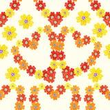 无缝的样式春天西洋樱草樱草属开花心脏 向量 库存照片