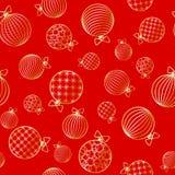 无缝的样式有在新年和圣诞节装饰品的圣诞节球冬天欢乐背景贺卡的 皇族释放例证