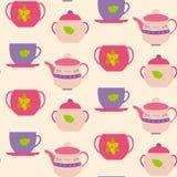 无缝的样式杯子和茶壶 库存例证