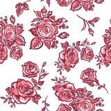 无缝的样式桃红色玫瑰 免版税图库摄影