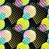 无缝的样式概念印刷品的传染媒介例证与圈子和颜色CMYK的 免版税图库摄影
