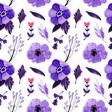 无缝的样式水彩花卉紫色花 皇族释放例证