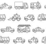无缝的样式汽车 在动画片猪圈的黑白背景 免版税库存图片
