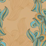 无缝的样式波浪背景灰棕色和蓝色 向量 库存照片