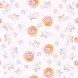 无缝的样式浅粉红色与水彩逗人喜爱的绵羊和星 皇族释放例证