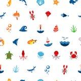 无缝的样式海洋或海有有动物的和鱼、贝类和贝壳 海洋象 接口的用途  皇族释放例证