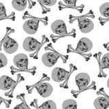 无缝的样式海盗旗骷髅图 免版税库存照片