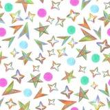无缝的样式满天星斗的天空绘与颜色铅笔 向量例证