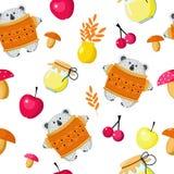 无缝的样式熊和秋天收获套蘑菇,苹果,莓果,蜂蜜,墙纸设计的叶子,封皮, 库存例证