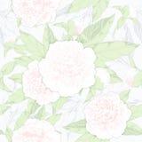 无缝的样式牡丹和芽在轻的背景 也corel凹道例证向量 库存图片