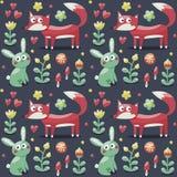无缝的样式狐狸,兔子,野兔,花,动物,植物,蘑菇,心脏 库存图片