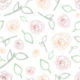 无缝的样式玫瑰和叶子在白色 库存例证