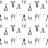 无缝的样式瓶酒 图库摄影