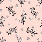 无缝的样式用一朵柔和的日本樱花 向量例证