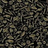 无缝的样式用不同形式意大利通心面  在黑背景的淡黄色色的手凹道 库存例证
