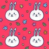 无缝的样式用乱画兔子和花 免版税库存照片