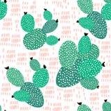 无缝的样式用仙人掌和手拉的纹理 为织品,纺织品完善 背景创造性的eps10文件层状向量 免版税库存照片