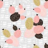 无缝的样式用仙人掌和手拉的纹理 为织品,纺织品完善 背景创造性的eps10文件层状向量 图库摄影