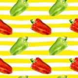 无缝的样式用保加利亚胡椒 水彩在条纹背景的响铃papper 免版税库存图片