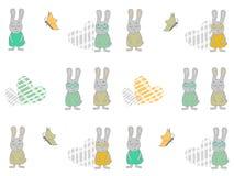 无缝的样式用动画片兔子、心脏和蝴蝶 兔宝宝传染媒介例证 库存照片