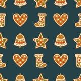无缝的样式用圣诞节姜饼曲奇饼-响铃, xmas长袜,星,心脏 免版税库存照片