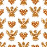 无缝的样式用圣诞节姜饼曲奇饼-天使和甜心 库存图片