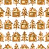 无缝的样式用圣诞节姜饼曲奇饼- xmas树和逗人喜爱的房子 库存照片