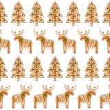 无缝的样式用圣诞节姜饼曲奇饼- xmas树和鹿 库存照片