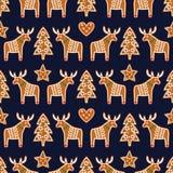 无缝的样式用圣诞节姜饼曲奇饼- xmas树,星,心脏,鹿 图库摄影