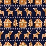无缝的样式用圣诞节姜饼曲奇饼- xmas树,星,鹿,房子 免版税库存图片