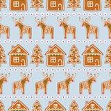无缝的样式用圣诞节姜饼曲奇饼- xmas树,星,鹿,房子 库存照片