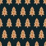 无缝的样式用圣诞节姜饼曲奇饼- xmas树 免版税库存照片
