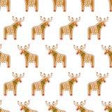 无缝的样式用圣诞节姜饼曲奇饼- xmas鹿 免版税库存图片