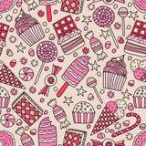 无缝的样式用在乱画样式的糖果 皇族释放例证