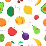 无缝的样式用在白色的色的果子 向量例证