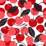 无缝的样式用在白色背景的樱桃 图库摄影