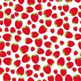 无缝的样式用在白色背景的草莓 免版税库存图片