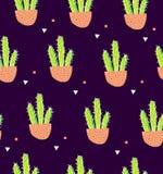 无缝的样式用在花盆的仙人掌和在黑背景的几何形状 在乱画样式的多汁植物 texti的装饰品 免版税库存照片