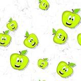 无缝的样式用在织地不很细背景的微笑的苹果 免版税图库摄影