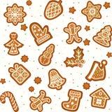 无缝的样式用姜饼圣诞节曲奇饼 库存照片