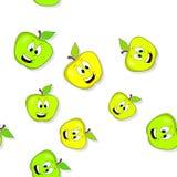 无缝的样式用微笑的苹果 免版税库存图片
