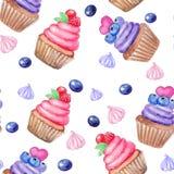 无缝的样式用手画水彩甜杯形蛋糕和marhmallow,莓果 打印,成套设计,包裹,纺织品 皇族释放例证