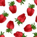 无缝的样式用新鲜的草莓 免版税库存照片