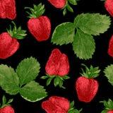 无缝的样式用新鲜的草莓 免版税库存图片
