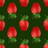 无缝的样式用新鲜的草莓 库存图片