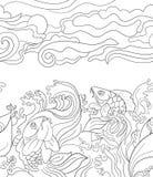 无缝的样式用日本鲤鱼 设计的瓦片背景,织品纺织品 皇族释放例证